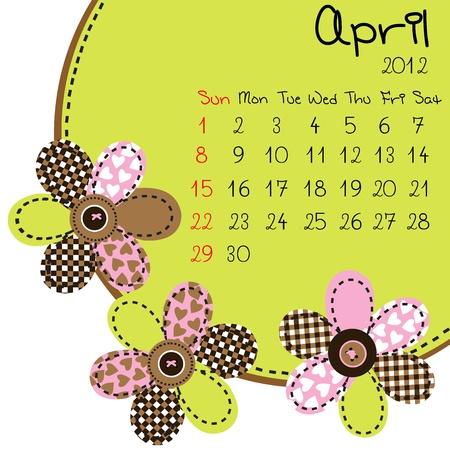 2012 April Calendar Stock Vector - 10308228