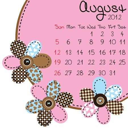 august calendar: Calendario de agosto de 2012