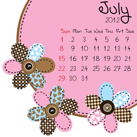 2012 July Calendar Stock Vector - 10308424