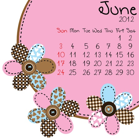 2012 June Calendar Stock Vector - 10308227