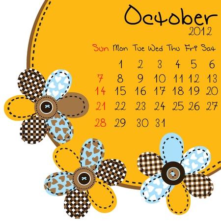 2012 October Calendar Stock Vector - 10308431