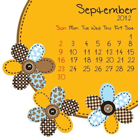 september calendar: 2012 September Calendar Illustration
