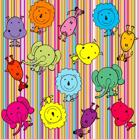 Colored background with doodle jungle animals Stock Vector - 10308214