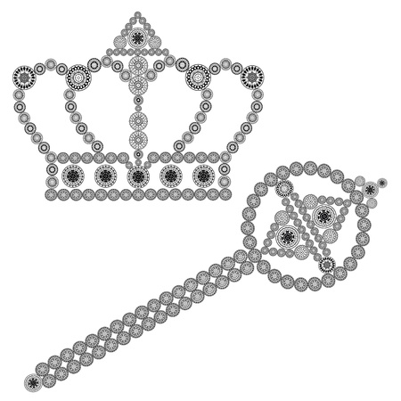 king and queen: Crown and scepter