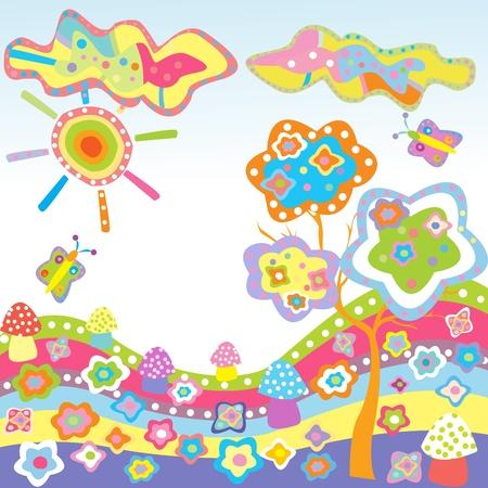 cute border: Doodle sfondo con elementi naturali