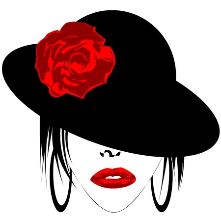 abstract portrait: Modern woman with hat and earrings Illustration