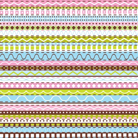striped wallpaper: Seamless pattern with colored geometrical shapes Illustration