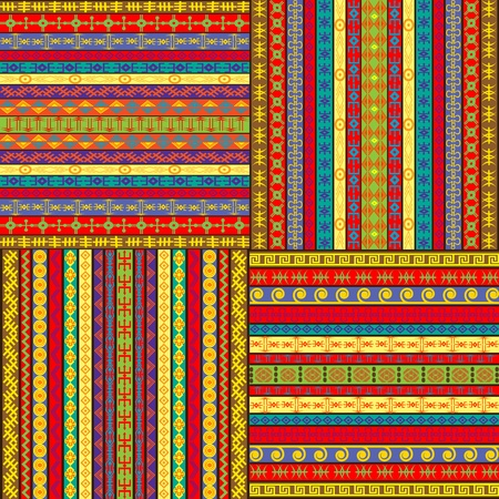 motifs: Set of ethnic colored backgrounds
