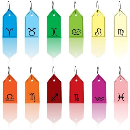 signes du zodiaque: �tiquettes color�es avec les signes du zodiaque