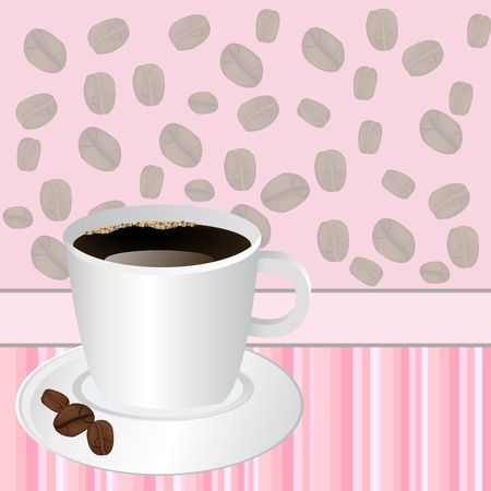 stimulate: Cup of coffee over pink striped background