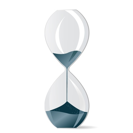 Hourglass with blue sand photo