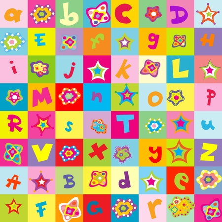 Background with letters and flowers for kindergarten Stock Photo - 10387371