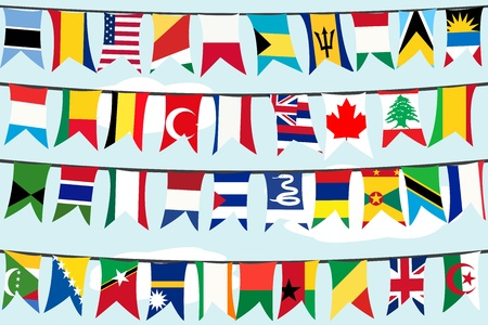 flags world: Different flags on strings
