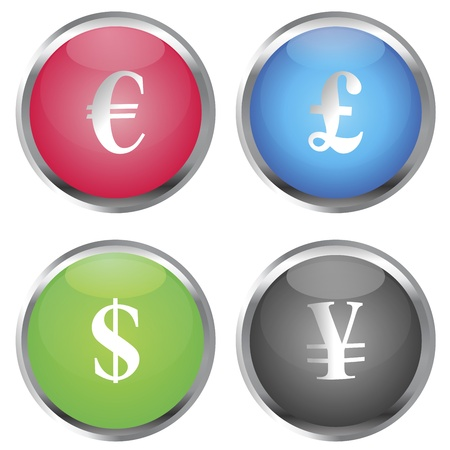 Colored buttons with money symbols Stock Vector - 10931132