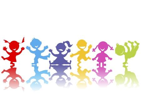 salti: Colorata a mano disegnato i bambini