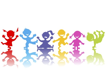 group jumping: Colored hand drawn children Illustration