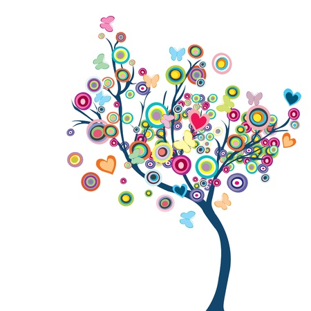 stylized: Colored happy tree with flowers and butterflies