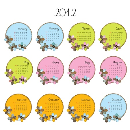 Cute colored calendar with flowers Vector