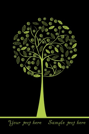 arbor: Green stylized tree with place for your text Illustration