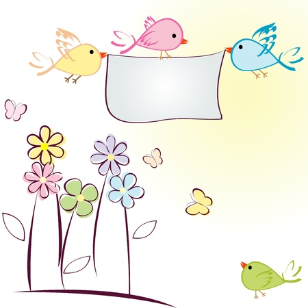 pastel background: Greeting card with birds, flowers and butterflies