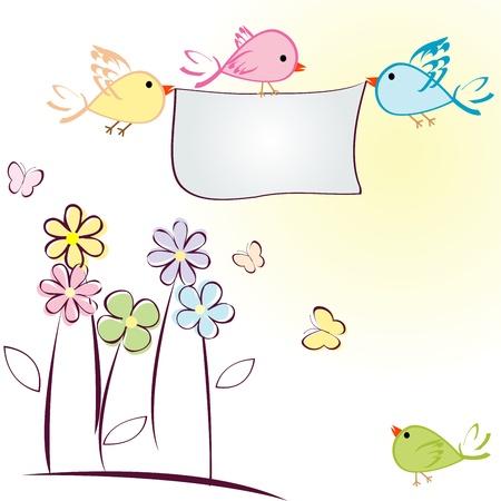 flores color pastel: Tarjeta de felicitaci�n con aves, flores y mariposas Vectores