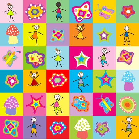 Pattern with toys and kids for kindergarten Stock Vector - 10931463