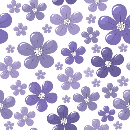 Pattern with purple flowers Vector