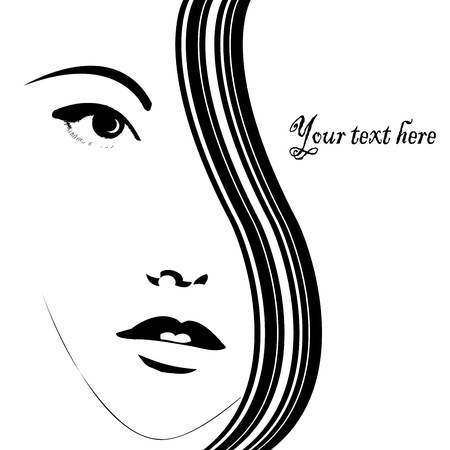 face card: Card with woman face Illustration