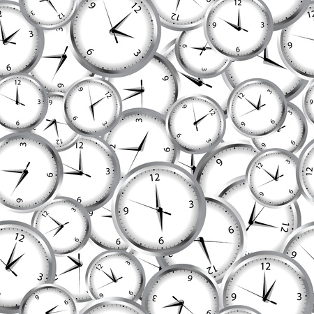 ticking: Seamless pattern with clocks and time
