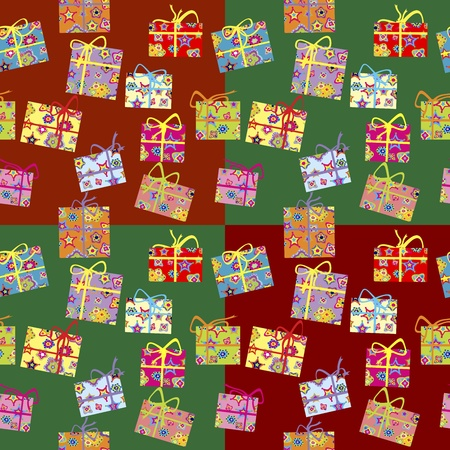 christmas wrapping: Wrapping paper with present boxes