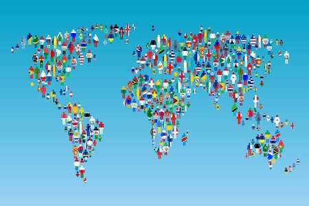 globalisation: Globalisation, World map with people made from flags Stock Photo