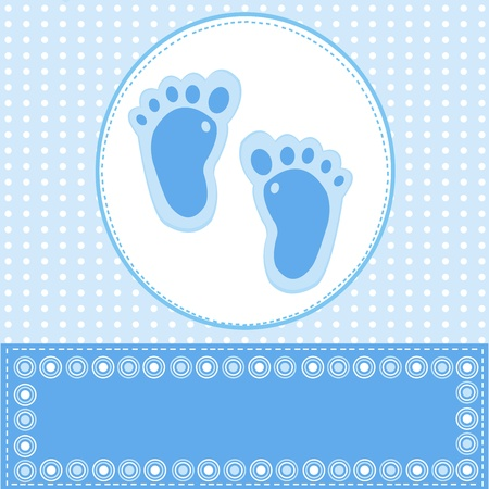 Baby boy greeting card with foot steps Illustration