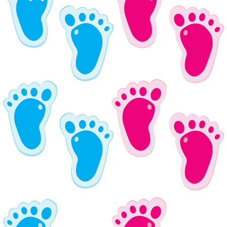 toe: Baby foot steps background, seamless pattern