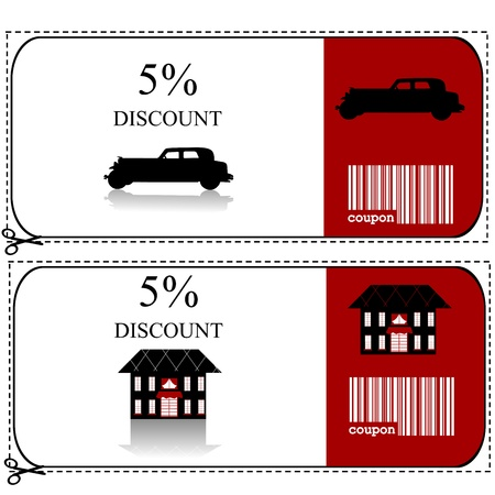 discounts: Car insurance and house insurance gift voucher Illustration