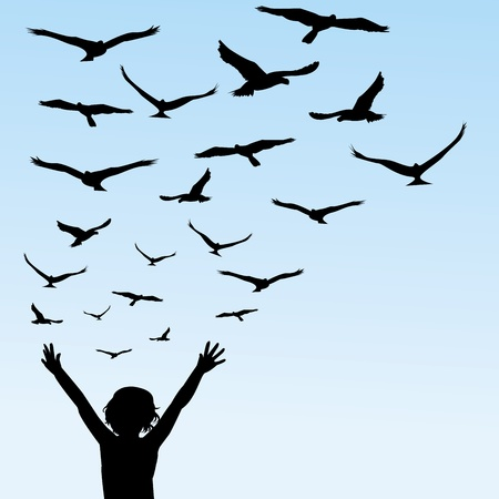 aspirational: Child learning to fly, illustration with child and birds