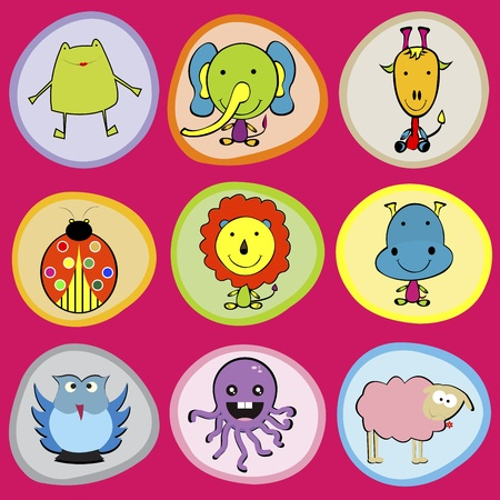 Cute animals icons for children Vector