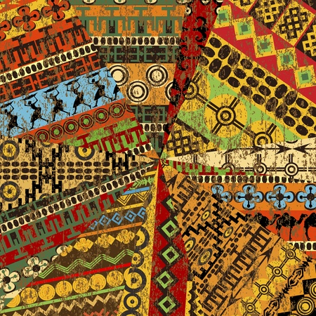 Grunge collage van het monster met etnische motieven