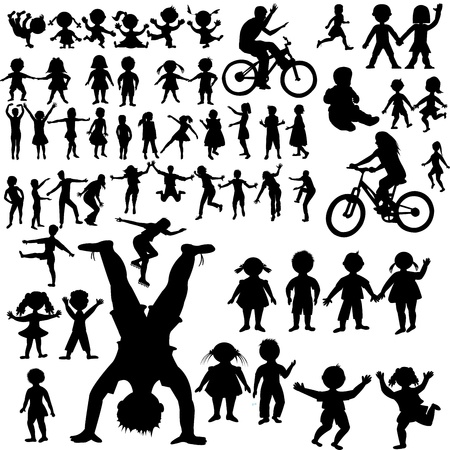 Hand drawn children silhouettes collection Vector