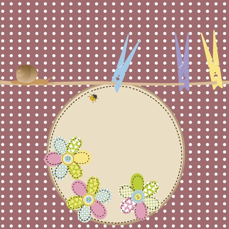 clothes pegs: Retro background with clothes pegs, lady bug, snail and space for text