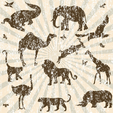 Retro grunge background with animals silhouettes Vector