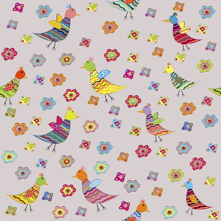Seamless pattern with birds and flowers, for kids Vector