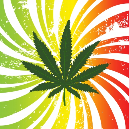 Rasta background with marijuana leaf Stock Photo
