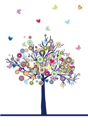 albero stilizzato: Astratto albero colorato con i cuori, cerchi e farfalle