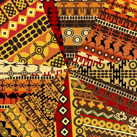 african fabric: Collage of sample with ethnic motifs, abstract background Illustration