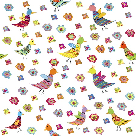birdie: Seamless pattern with birds and flowers, cute background for kids