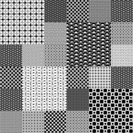 Set of black and white geometrical patterns