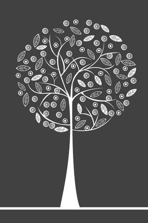 albero stilizzato: Bianco albero stilizzato con frutti e foglie