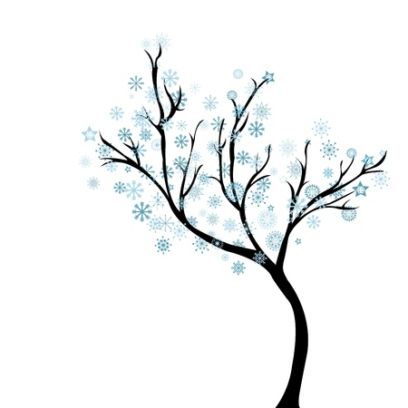 winter stylized: Winter tree with snowflakes