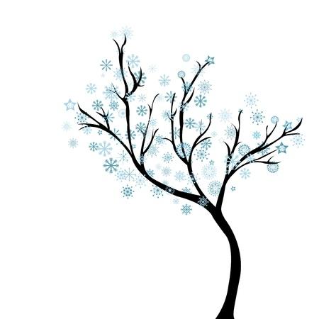 L'arbre d'hiver avec des flocons de neige