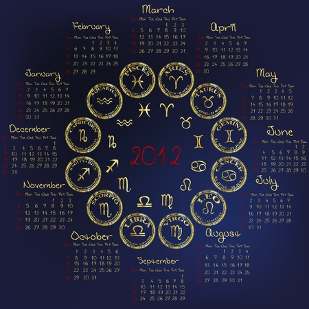 2012 Horoscope Calendar with zodiacal signs Stock Vector - 11278379
